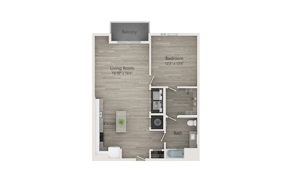 A5c - 1 bedroom floorplan layout with 1 bath and 883 square feet.