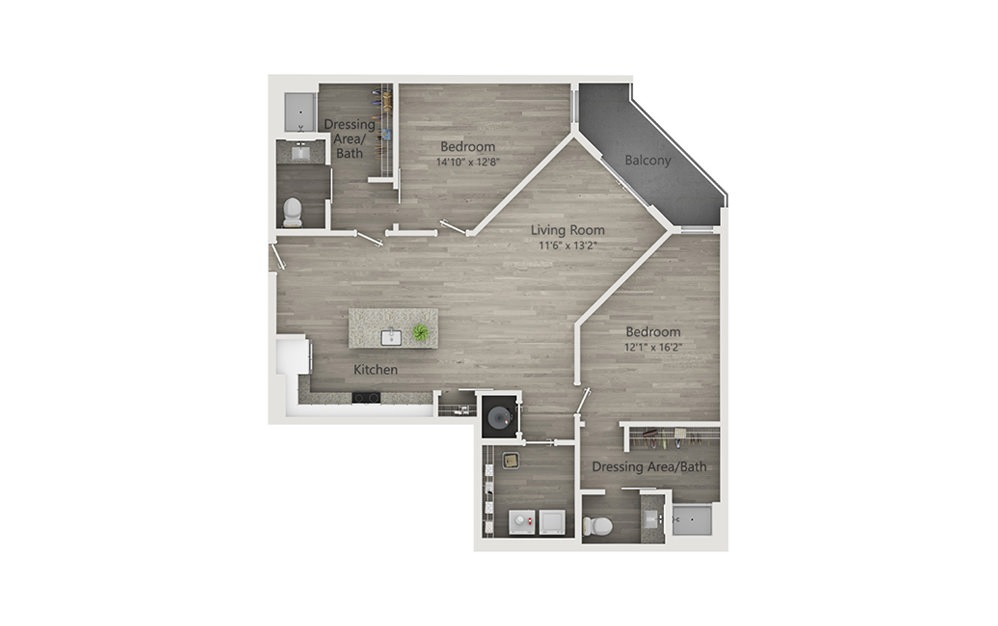 B2b - 2 bedroom floorplan layout with 2 baths and 1218 square feet.