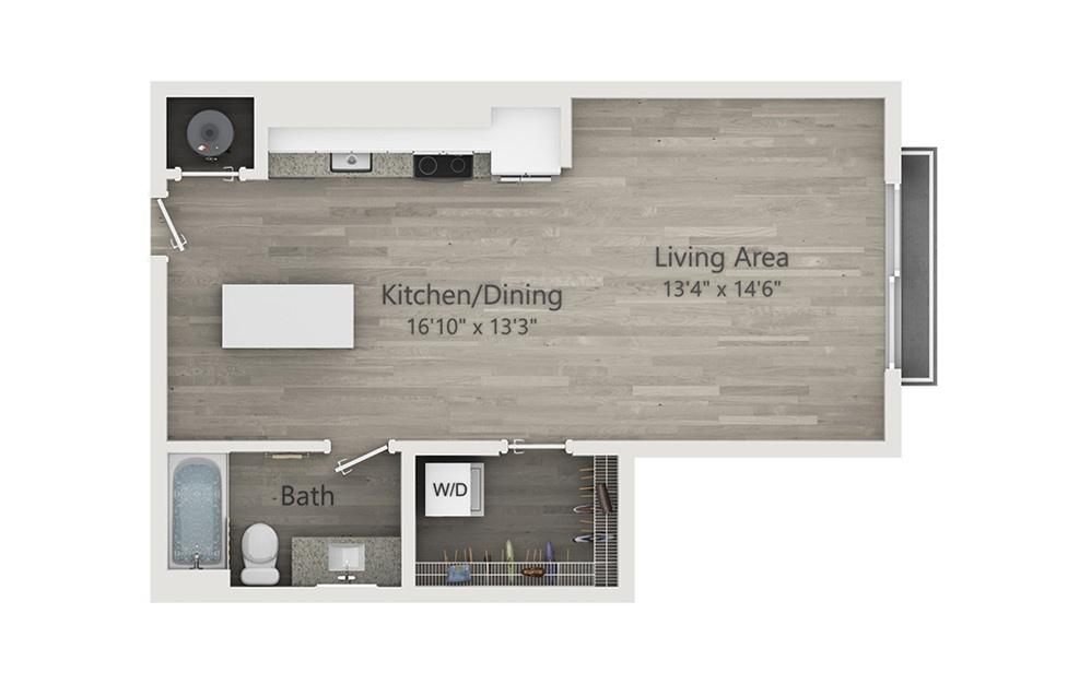S2 - Studio floorplan layout with 1 bath and 566 square feet.