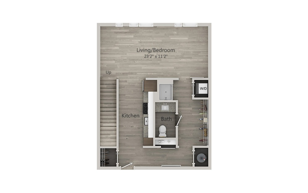 T2 - 1 bedroom floorplan layout with 1 bath and 859 square feet. (Floor 1)